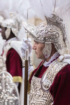 Roman soldiers, called Armaos, of El Nazareno brotherhood, Good Friday, Linares, Andalusia, Spain Editorial