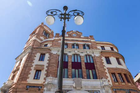 borne fontaine: Cadiz, SPAIN - March 31: Building post office, It was constructed in 1925,It is located in the Plaza de las Flores,  next to the Central market,  of style regionalist with some modernist tones, take in Cadiz, Andalusia, Spain