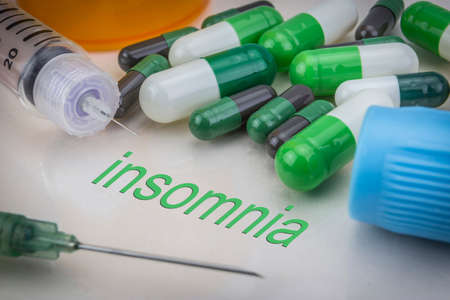 injectable: Insomnia, medicines and syringes as concept of ordinary treatment health Stock Photo