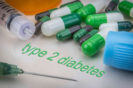 injectable: Type 2 diabetes, medicines and syringes as concept of ordinary treatment health