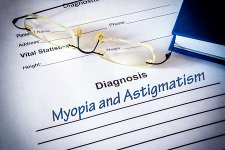 Diagnosis list with Astigmatism and myopia. Eye disorder concept.