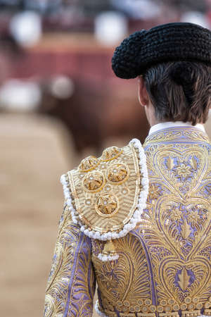 Detail of the bullfighter dress in the bullring, Spain