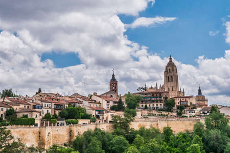 castilla: Segovia, SPAIN - June 3: Cathedral of Segovia or called correctly in Spanish Saint Iglesia Catedral of Our Lady of the Asunción and of San Frutos, placed in the main square and of Gothic style, built at the end of the XVIth century, located in the main Editorial