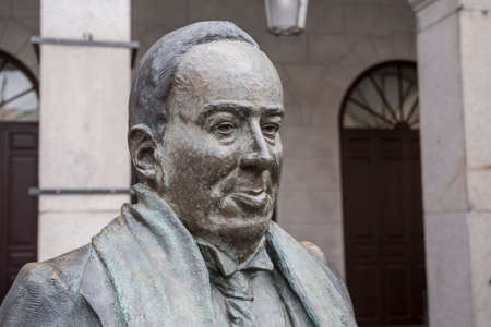 SEGOVIA, SPAIN - June 3, 2017: Statue in honor of the Spanish poet Antonio Machado in the main square of Segovia, Spain Editorial