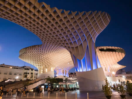 View of Metropol Parasol Night , popularly called Mushrooms of Seville, carried out by the architect Jürgen Mayer, Seville, Andalusia, Spain