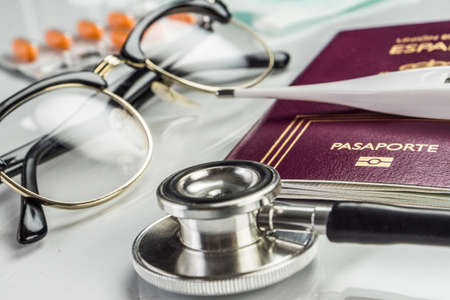 basic medicine elements to travel abroad, conceptual image