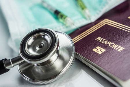 basic medicine elements to travel abroad, conceptual image Stock Photo