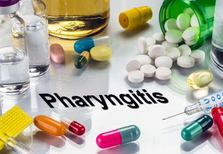 Pharyngitis, medicines as concept of ordinary treatment, conceptual image Stock Photo