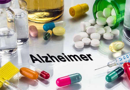 Alzheimer, medicines as concept of ordinary treatment, conceptual image Stock Photo