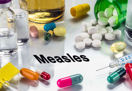 Measles, medicines as concept of ordinary treatment, conceptual image