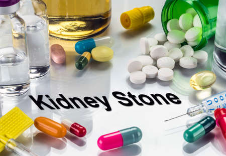 Kidney stone. medicines as concept of ordinary treatment, conceptual image