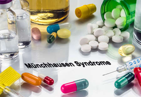 Munchausen syndrome, medicines as concept of ordinary treatment, conceptual image Stock Photo