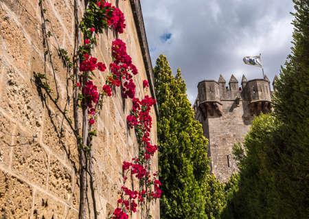 Almodovar del Rio, Cordoba, Spain - June 9, 2018: Castle of Almodovar del Rio, It is a fortitude of Moslem origin, it was a Roman fort and the current building has definitely origin Berber, placed close to the Guadalquivir, take in Almodovar of the Rio, S