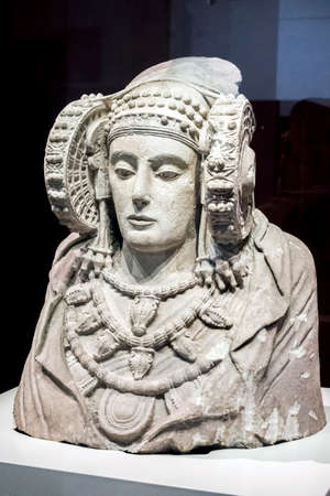 Madrid, Spain - August 4 2018: Lady of Elche at National Archeological Museum of Madrid, Spain