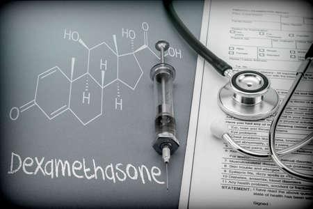 Dexamethasone, schematic chemical, palliative care against tuberculous meningitis, conceptual image