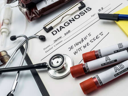Diagnosis form witness of jehova, concept of denial of blood transfusions, conceptual image, horizontal composition