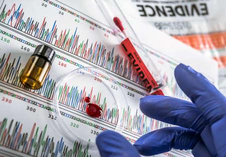 L'esperto di polizia esamina il disco petri del campione di sangue alla ricerca del test del DNA, immagine concettuale