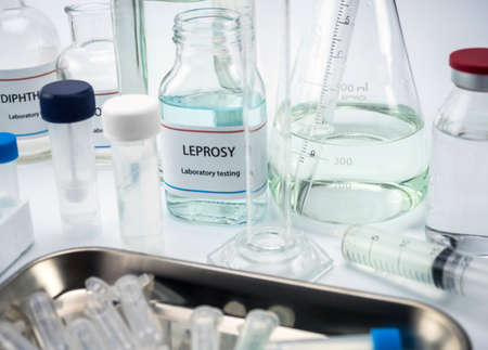 Test leprosy in laboratory, conceptual image, horizontal composition