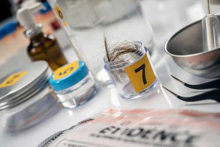 Criminalistic Laboratory, hair analysis, conceptual image