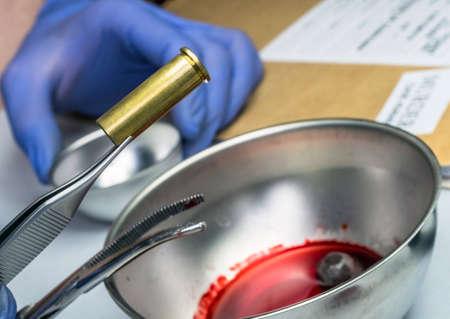 Criminalistic Laboratory, Bullet shell analysis, conceptual image