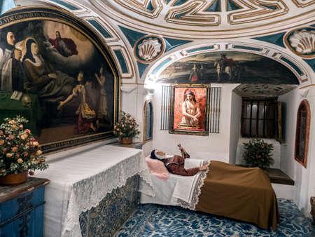Alba de Tormes, Salamanca -  Spain: Cell whem santa teresa de jesus died, carmelitas descalzas church,  Alba de Tormes, Salamanca province, Spain