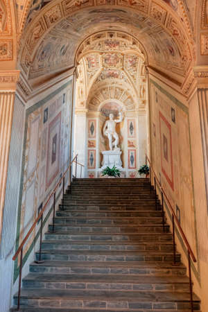 Viso del Marques, SPAIN - September 28, 2019: Hallway mezzanine of General Archive of the Navy in the palace of the Marquis of Santa Cruz is a building located in the municipality of Viso del Marques, Ciudad Real, Spain