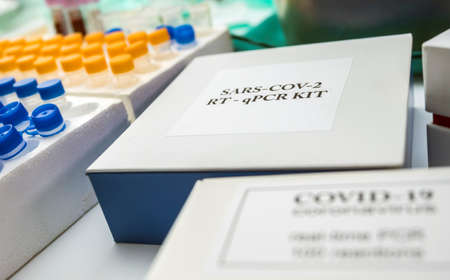 Novel coronavirus 2019 nCoV pcr diagnostics kit. This is RT-PCR kit to detect presence of 2019-nCoV or virus presence in clinical specimens, conceptual image Stock Photo