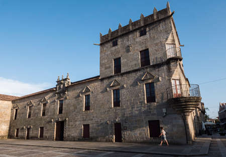 Palace of Fefiñanes, Of classic air, it integrates a harmonious set with his arcade, tower of the honor and the neighboring Church of San Benito, Cambados, province of Pontevedra, Spain