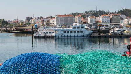 Fishing nets, panoramic view of the fishing port of o Grove, province of Pontevedra, Spain Imagens