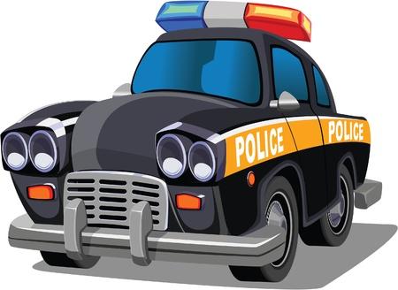 black car: Cartoon Police Car Illustration