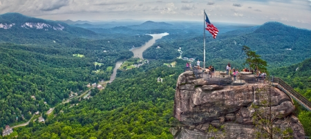 overlooking chimney rock and lake lure Stock Photo
