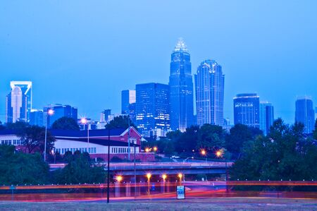 major metropolitan city skyline and banking district Stock Photo