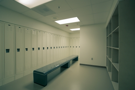 locker room: very clean  locker room Stock Photo
