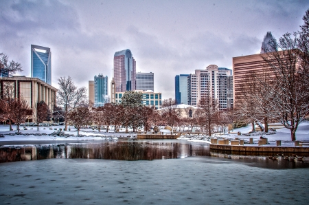 Charlotte skyline in snow Editorial
