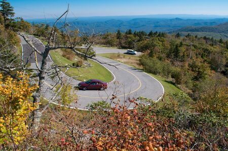 curved mountain road on blue ridge parkway Stock Photo