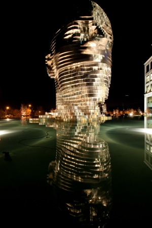 Metalmorphosis is a mirrored water fountain
