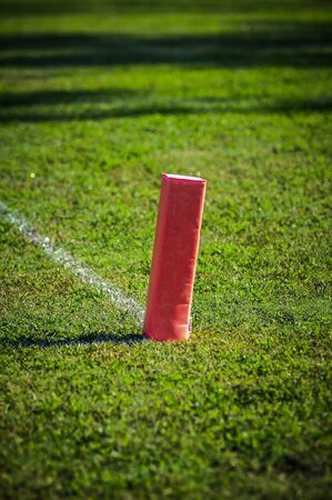 goalline:  the endzone showing the goal line and the orange marker