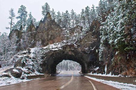 mount rushmore: tunnel near mount rushmore during snow storm