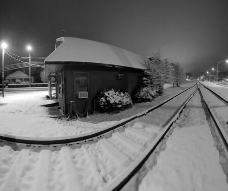 lonesome: Railway Tracks Covered In Snow - A general view of some railway tracks covered in snow in winter Editorial