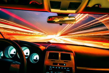 highway lights: travel at speed of light Stock Photo