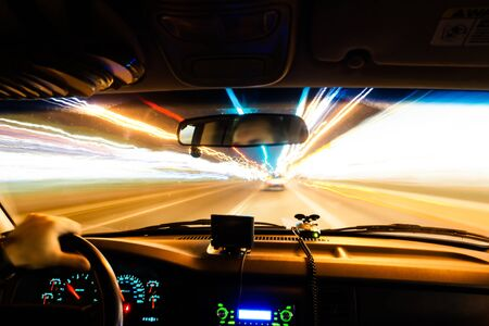 View from a moving vehicle gives feeling of a speed of light as timetravel Stock Photo - 16276919