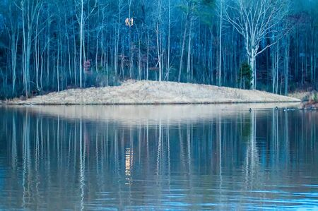 crescent lake: moon reflecting in lake