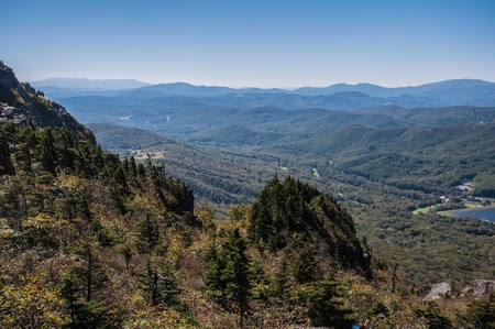 View of the Blue Ridge Mountains during fall season from parkway photo