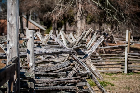 old country village fence line criss cross photo