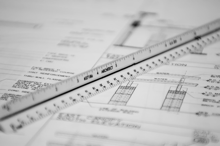 scale ruler and floor plan cad drawings for a project