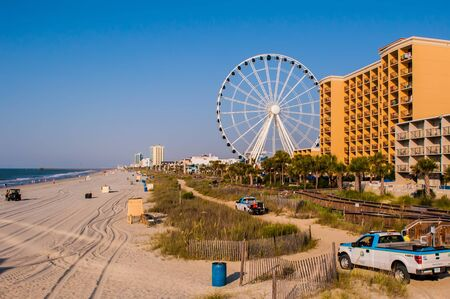 grand strand: View of Myrtle Beach South Carolina in morning