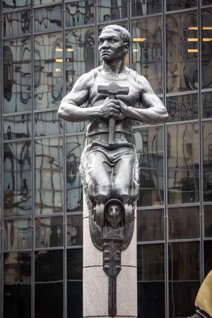 charlotte: A statue at Charlotte uptown in North Carolina