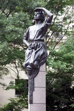 A statue at Charlotte uptown in North Carolina