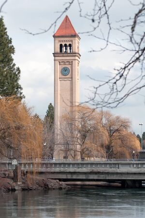 riverfront: Clock tower in Riverfront Park, site of the 1974 Worlds Fair, in Spokane, Washington.