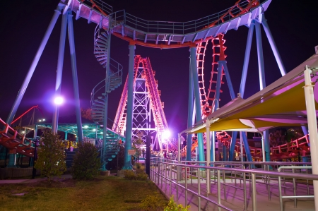 at the amusement park at night